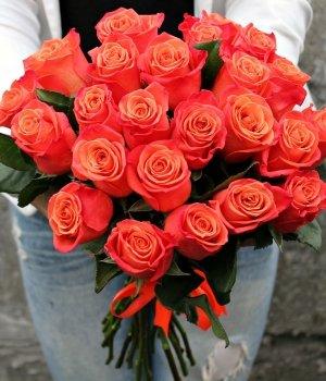 Букет из 25 оранжевых роз  Эквадор (70 см) #379