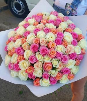 Букет из 101 розы-микс (50 см) #419