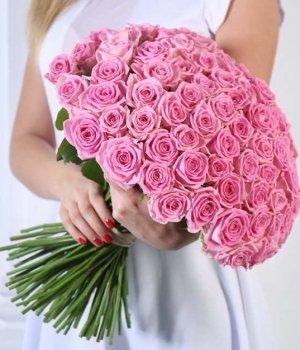 Букет из 101 розовой розы (50 см) #412