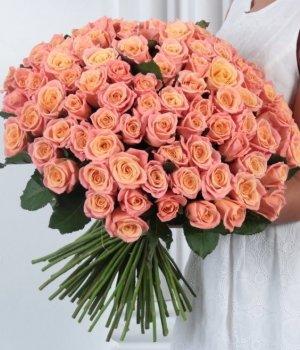 Букет из 101 персиковой розы (60 см) #341