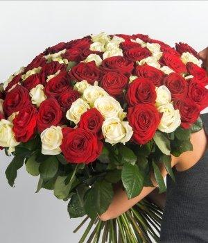 Букет из 101 белой и красной розы (50 см) #417