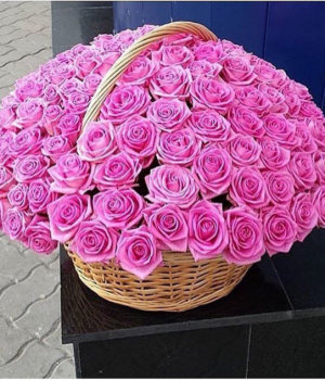 Корзина из 101 розовой розы #430