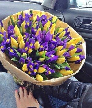 Микс-букет их тюльпанов  и ирисов (51 шт) #192
