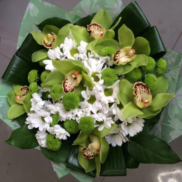 Дню, круглый букет из орхидей как сделать