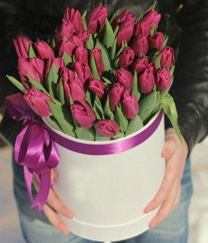 Сиреневые тюльпаны в белой шляпной коробке (25шт) #1034