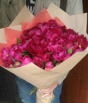 Букет из розовых пионов (29 шт) #1058