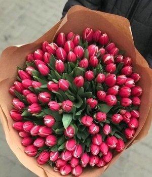 Букет из розовых тюльпанов (101 шт) #60