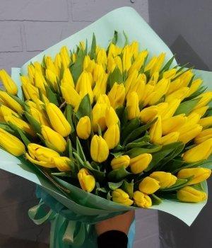 Букет из желтых тюльпанов (101  шт) #904