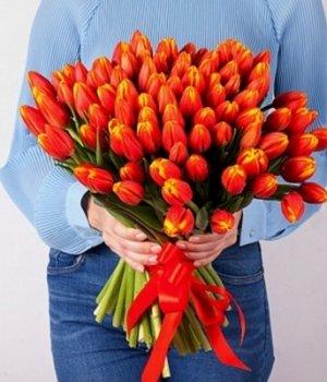 Букет из оранжевых тюльпанов (101 шт) #896
