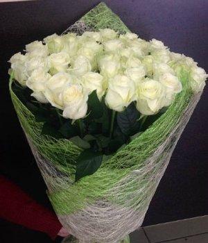 Букет из 39  белых роз (60см) #361