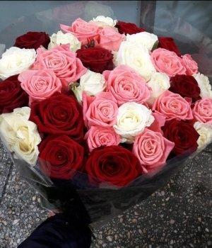 Микс-букет из 29  роз (60 см) #497