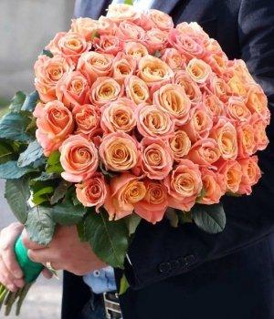 Букет из 51 персиковой розы (60 см) #1100