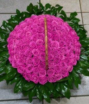 Корзина из 101 розовой розы #1134
