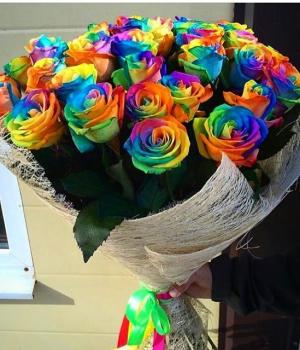 Букет из радужных роз (29 шт) #567