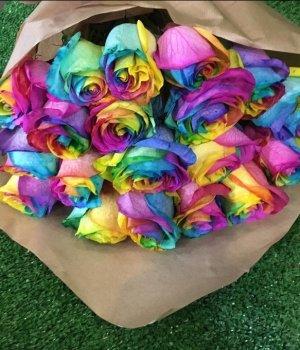 Букет из радужных роз (19 шт) #568