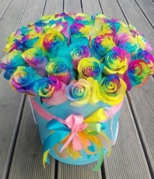 Радужные розы в голубой шляпной коробке (29 шт) #1141