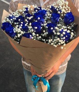 Букет из синих роз (19 шт) #1043