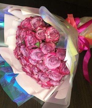 Букет из 29 розовых кенийских роз (40 см) #1227