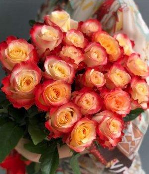 Букет из 25 оранжевых роз Эквадор (40 см) #1261
