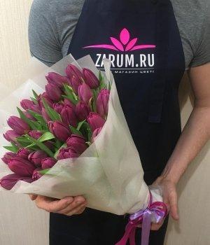 Букет из фиолетовых пионовидных тюльпанов (49 шт) #1304