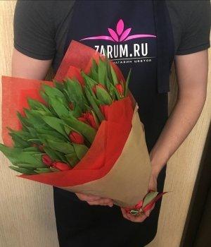 Букет из красных тюльпанов (49 шт) #55