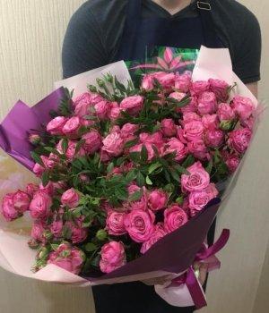 Букет из розовых пионовидных роз Леди Бомбастик (29 шт) #1319
