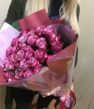 Букет из 29 розовых  Кенийских роз (40 см) #1233