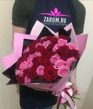 Букет из 51 красной и розовой розы (50 см) #501