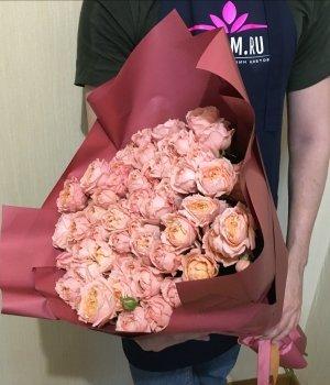 Букет из персиковых пионовидных роз Джульета (19 шт) #679