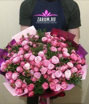 Букет из розовых пионовидных роз Леди бомбастик (39шт) #293