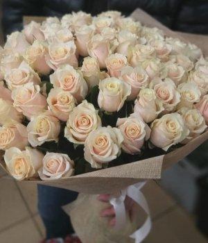Букет из 51 кремовой розы (60 см) #1101