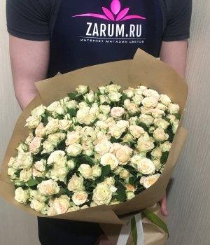 Букет из кремовых кустовых роз (39 шт) #36