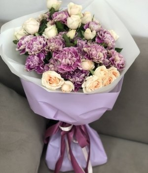 Микс из кустовых роз и гвоздик #1421
