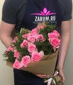 Букет из 19 розовых роз (50см) #359