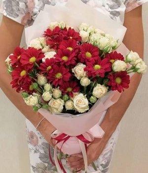 Микс из кустовых роз и хризантем #1462