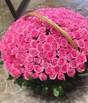 Корзина из 201 розовой розы #1484