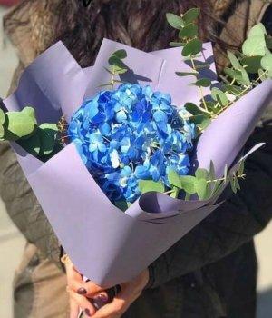 Букет из синей гортензии с эвкалиптом #1515