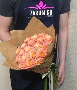 Букет из 19 персиковых роз (50см) #613