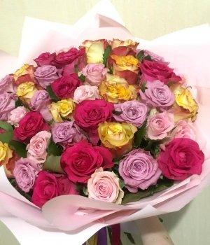 Микс-букет из 39 роз  (40 см) #1520