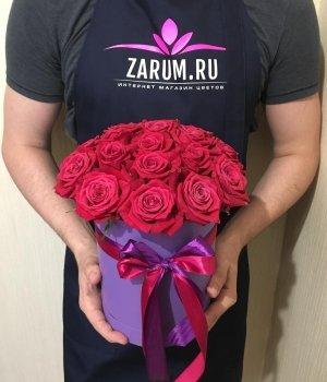 19 роз Шангрила в шляпной коробке #1522
