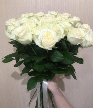 Букет из 25 белых роз (70см) #541