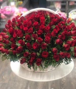 Корзина из 201 красной розы #1136