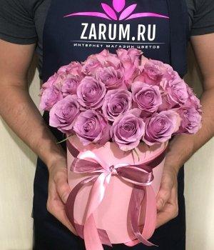 29 Кенийских роз в розовой шляпной коробке #1599