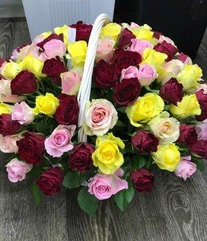 Корзина из 101 розы микс #433