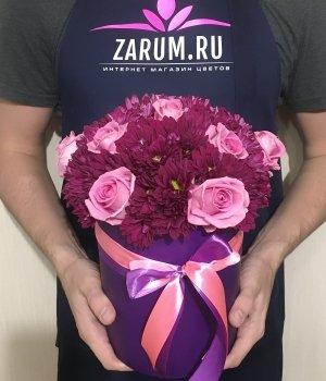 Микс из роз и хризантем в шляпной коробке #1549