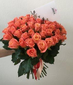 Букет из 51 персиковой розы (50 см) #694