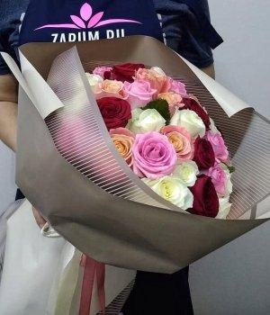 Микс-букет из 51 розы (50 см) #1678