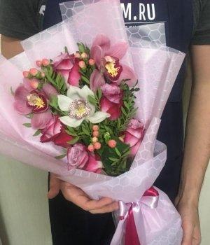 Микс из роз и орхидей #1695