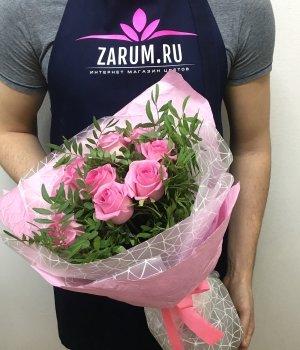 Букет из 9 розовых роз ( 50 см) #1594