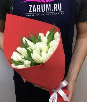 Букет из белых тюльпанов (25 шт) #67